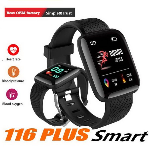 New 116 Plus Smart watch Bracelets Fitness Tracker Heart Rate Step Counter Activity Monitor Band Wristband IP67 Waterproof with retail pack