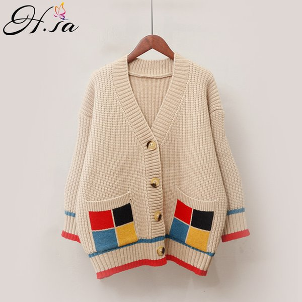 H.SA 2019 Women Spring Sweater Coats V neck Single Breasted Casual Poncho Jumpers Patchwork Button Jumpers Korean Knit Jacket