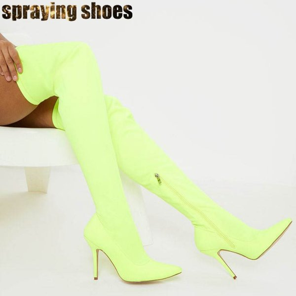 Fashion Neon Lime Thigh High Sock Boots Women Pointy Toe High Heels Strentch Slim Over The Knee Boots Ladies Zip