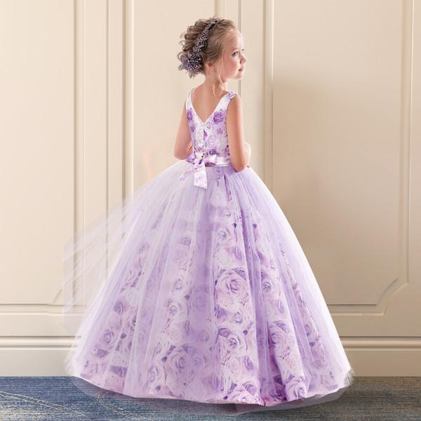 Kids Dresses For Girls Party Dress Flower Wedding Elegant Princess Girl Children Prom Gown Teenager Long Purple Formal Wear XF99