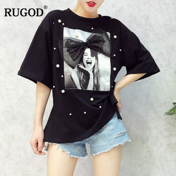 Rugod 2018 Newest Summer Fashion Beading Funny T Shirt Women Casual Bow Tie O Neck Short Sleeve Cotton T-shirt For Women Tops S19715