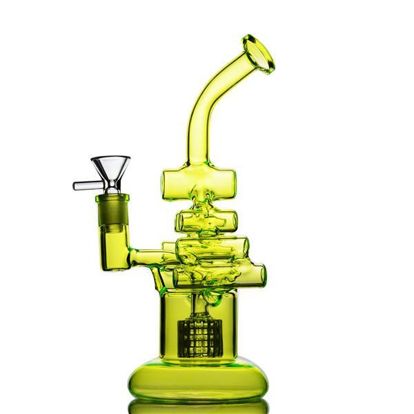 Novo estilo Fluorescentes bongos de vidro verde com birdcage perc tubulações de água de vidro oil dab rigs recycler 14mm joint