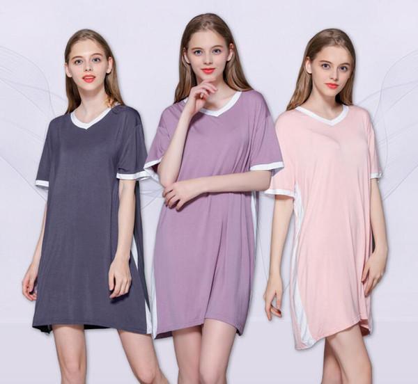 2019 summer new women's modal home casual dress V-neck stitching loose thin long night dress
