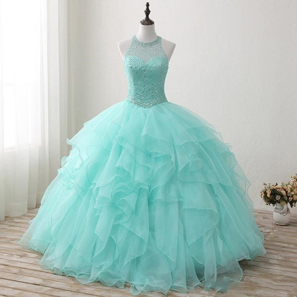 Mint Green Beaded Quinceanera Dresses 2019 New Real Images Crew Neck Tulle Ruffles Sweet 16 Dresses Princess Dress Prom Dresses