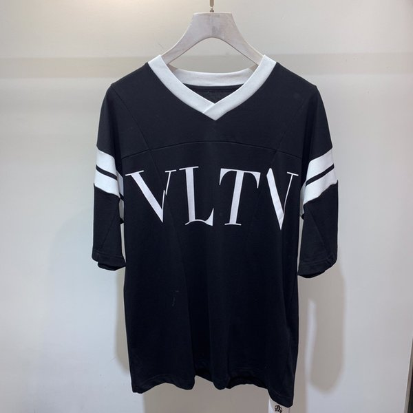 2019 summer Fashion brand Tees High quality Big v-neck printed letters Designer Men's T Shirt Casual For Male tops