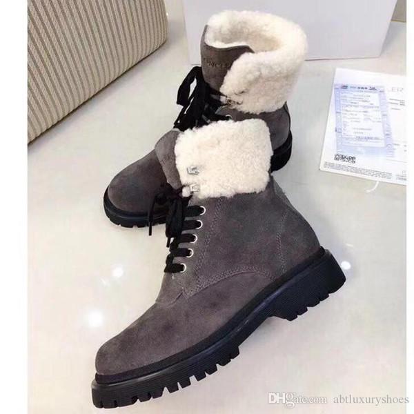 Women Shoes Luxury Fashion Snow Boots Plush Lace-up Warm Ladies Shoes Fur Leisure Snow Boots Shoes Women Plus Velvet with Origin Box