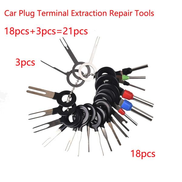 21 unids / lote Auto Car Remove Kit de herramientas Enchufe Placa de circuito Arnés de cable Terminal Extracción Conector Conector Crimp Pin Aguja posterior