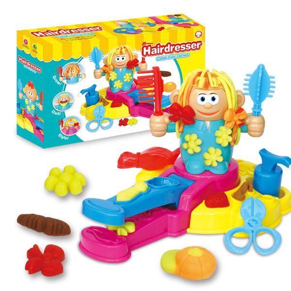Spielhaus Spielzeug Originalität pädagogische lustige Friseur 3D Friseur Farbe Clay Scissor Comb Set Spielzeug Kind Kinder Weihnachtsgeschenke