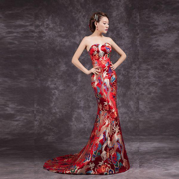 2016 Fashion Red Cheongsam Chinese Traditional Dress Long Qipao Evening Gowns China Slim Retro Qi Pao Women Antique Dresses