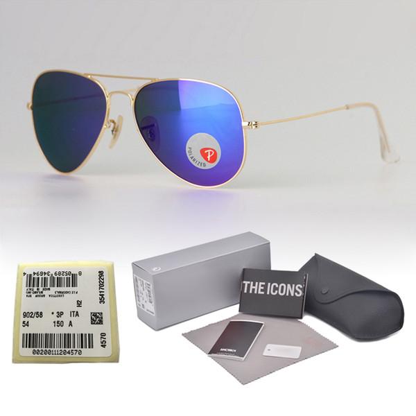 Lunettes de soleil polarisées de concepteur de marque hommes femmes monture en métal lunettes de soleil pilote lunettes vintage verres en plastique polaroid avec boîte et étiquette