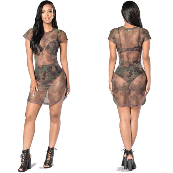 Sexy & Club Perspective of camouflage screen sexy dress women's short sleeve party dress for sale