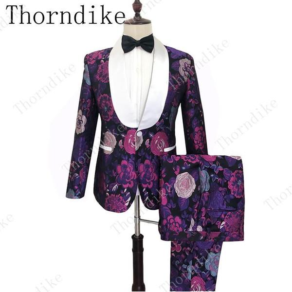 Новый клиент Made Luxury Фиолетовый жаккарда 2019 Slim Fit Грум Tuxedo (куртка + брюки) Лучшие мужчины костюмы Groomsmen костюмы клиента