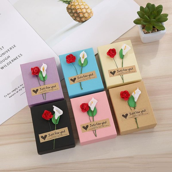 Bulk Lots 6 Colors 7*9*3cm Calla Lily&Rose Paper Jewelry Bag Gift Box for Christmas Jewelry Case Storage Container Xmas Party Decorations