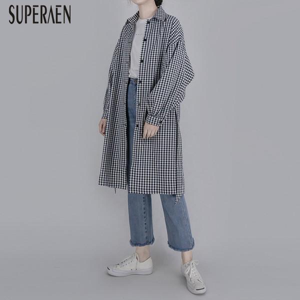 SuperAen Giacca a vento femminile in cotone moda casual trench in stile coreano per le donne Plaid Primavera e autunno Novità 2019