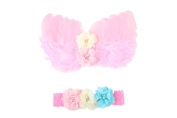 Hair Accessories Baby Angel Wings Set Childrens Photo Props Wings Lace Head With Feathers Diamond Set