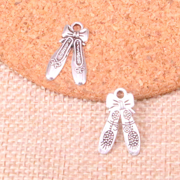127pcs Charms ballet shoes slippers Antique Silver Plated Pendants Fit Jewelry Making Findings Accessories 20*13mm