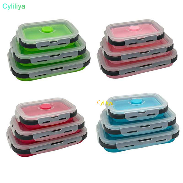Folding Silicone Collapsible Portable Lunch Box 350/500/800/1200ML Microwave Oven Bowl Folding Food Storage Container Picnic Box