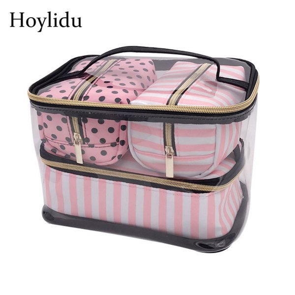 Waterproof Pvc Transparent Makeup Bag Women Travel Organizer Pouch Cosmetic Bags Set Kits Necessaire Make Up Toiletry Wash Bag Y19052501