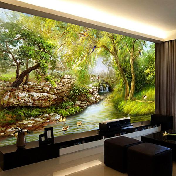 3D Duvar Kağıdı Çin Tarzı Nehir Manzarası Yağlıboya Duvar Oturma Odası TV Kanepe Zemin Duvar Kağıdı Ev Dekor Papel Resimleri