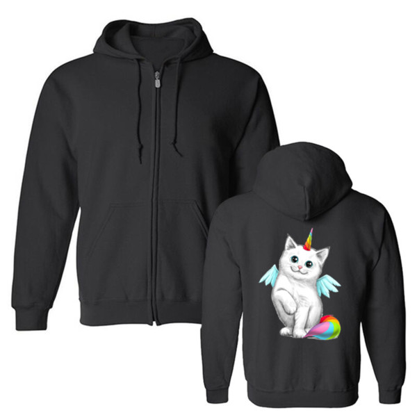 Felpe con cappuccio da uomo nuove Cute Unicorn Cat Rainbow Fluffy Tail Funny Artsy Girl's Fleece Sweatshirt Harajuku Hip Hop Hooded