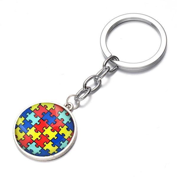 New Colorful Jigsaw Puzzle Glass Pendant Keychain Key Ring Bag Hanging Decor Gifts