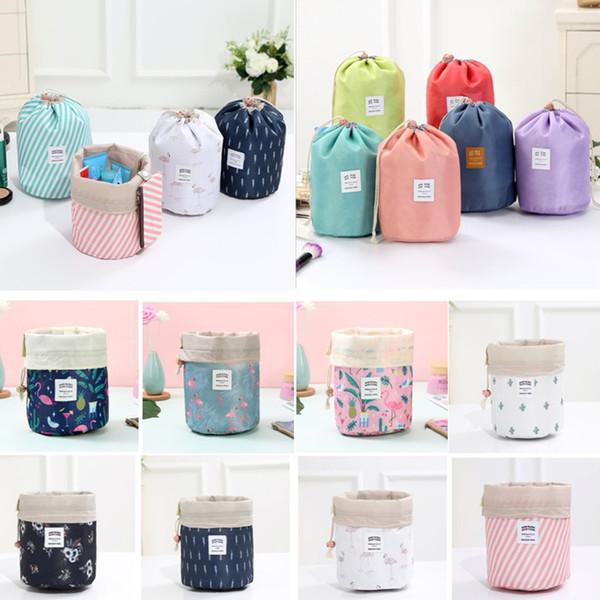 Barrel Shaped Women Travel Cosmetic Bag High Capacity Drawstring Elegant Drum Wash Bags Flamingo Printed Makeup Organizer Storage Bag