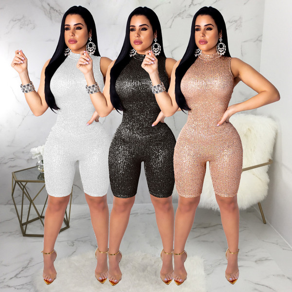 2019 Women Fashion Sexy Sequins Jumpsuit Mock Neck Sleeveless Night Club Party Romper Summer Shorts Female Bar Costumes Outfits
