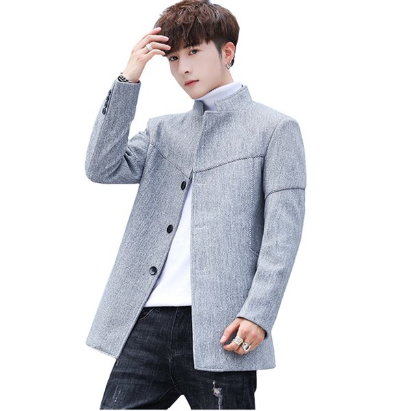 2018 New Fashion Standing Collar Mens Trench Coat Size 3XL Slim Fit Men Business Casual Coats