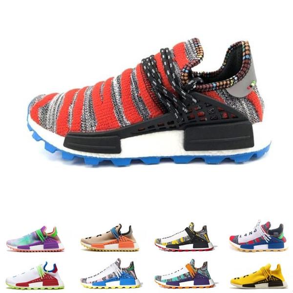 La raza humana barato Hu rastro Pharrell Williams hombres x empollón zapatos para correr para hombre negro Paquete de energía solar blancos formadores mujeres deporte zapatilla de deporte 36-47 euros
