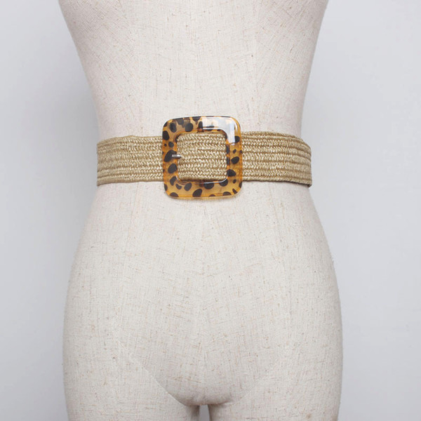New Vintage Knitted Wax Rope Wooden Bead Waist Rope Women Smooth Buckle Belt Woman Woven Female Elastic Braided Belt BZ12