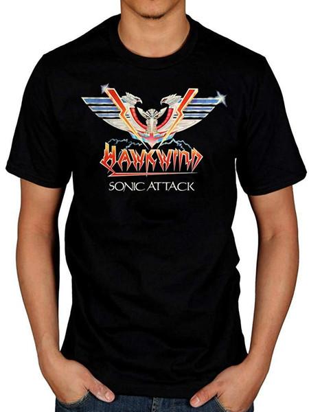Hawkwind Sonic Attack Logo été T-shirt de sport pour hommes T-shirt décontracté à col en V à manches courtes Casual Tops drôle Tees
