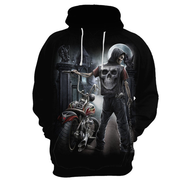Hot 3D Skull Hoodies Men/Women Hoody Sweatshirts 3D Print Blue Fire Design Skull Hooded Boys/Girls Polluvers Autumn Tops