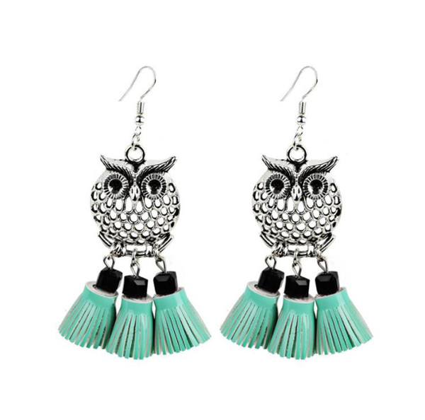 New European and American fashion accessories exaggerated personality owl leather tassel ear stud earrings