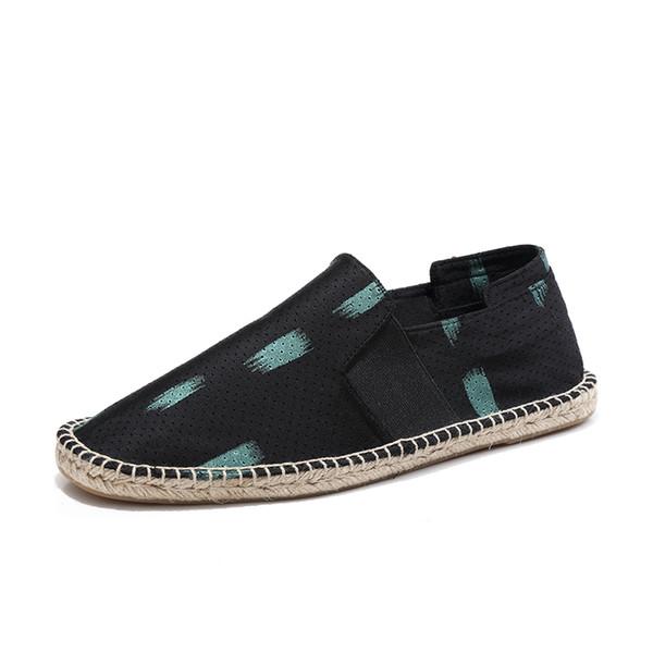 Men's Flat Cartoon Breathabler Shoes Popular Soft Sole Travel Walking Straw Shoes