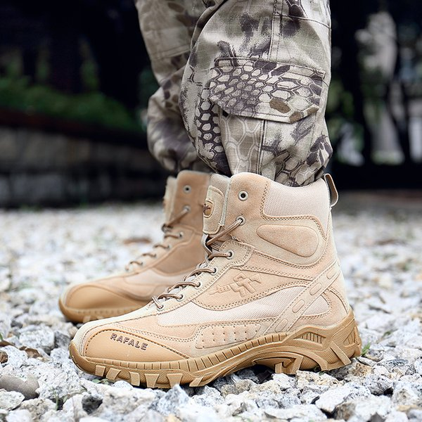 Outdoor Waterproof High Tube Wear-resisting Non-slip Desert Shoes Men Male Army Fans Climbing Combat Hunting Tactics Boots Large Size 39-46
