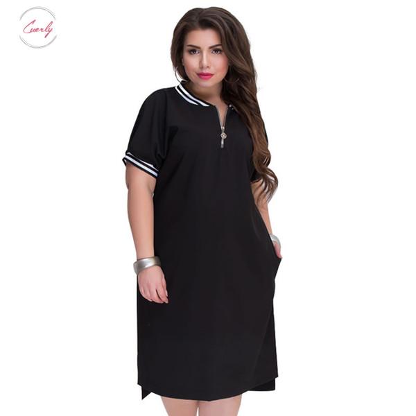 Vestido Com Plus Size Hetero Mulheres O Neck 2019 Zippers Big Size Verão Casual soltas Sólidos roupas de grife Red Vestidos