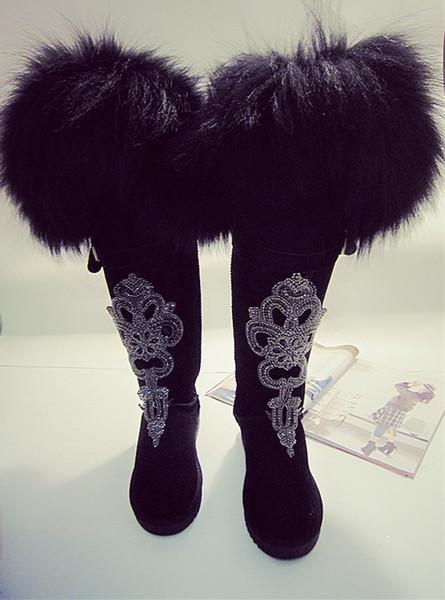 Compre Señoras De Piel De Zorro De Lujo Botas De Nieve Hasta La Rodilla Botines Largos De Cuero Genuino Rhinestones Zapatos De Invierno De Gamuza