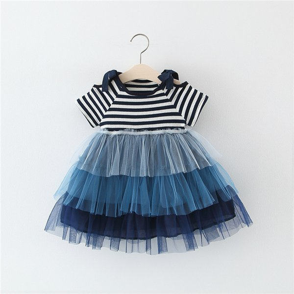 Princess baby girls cake layer tutu skirts short sleeve children striped dress new summer kids boutiques clothing