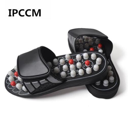 Acupoint massage chaussons Sandales pour les pieds hommes acupression chinoise thérapie Chaussures Massage des pieds Rotating médical unisexe
