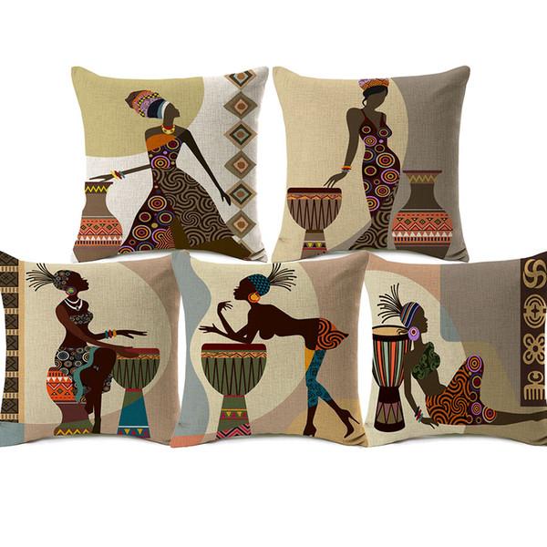 African Woman Lady Cushion Covers Africa Symbols Art Modern Cushion Cover Decorative Linen Beige Pillow Case 45X45cm Sofa Chair Decor