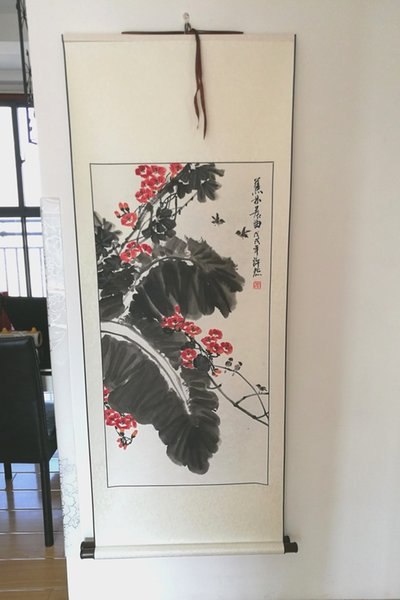 SCROLL-Handpainted Chinese rice paper painting--- Chinese trumpet creeper and Leaf of Japanese banana