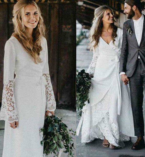 Lace Chiffon Beach Wedding Dresses with Long Sleeve Boho Bohemian Garden Country Style A Line Bridal Gown