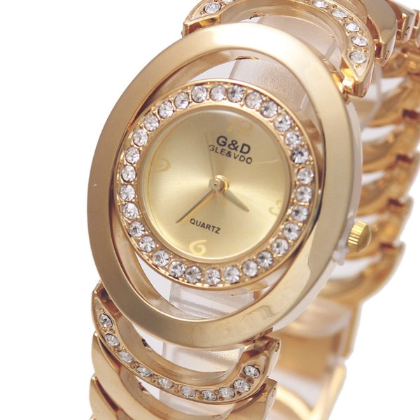 New G&D Wome Quartz Wristwatches Stainless Steel Relojes Mujer Golden Ladies Bracelet Watch Relogio Feminino