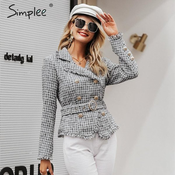 simplee plaid frayed edge tweed jacket coat women v-neck double breasted button belt ladies coat long sleeve outwear blazer