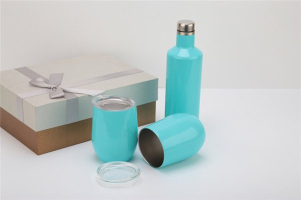 12oz Stainless Steel Wine Bottle Suit Eggshell shape Beer Wine Mugs Vacuum Cups Gift Box 3 Tumblers