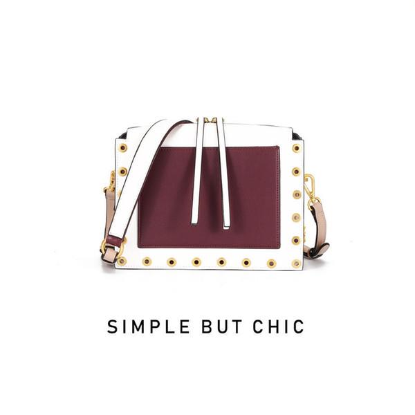 Lucky2019 Genuine design nicchia pelle donna vera catena singola spalla span conciso piccolo pacchetto quadrato
