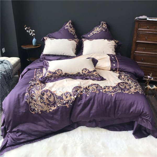 Purple White Luxury Gold Royal Embroidery 80S Egyptian cotton Palace Bedding Set Duvet Cover Bed sheet Bed Linen Pillowcase 4pcs