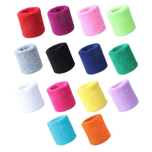 1 Pair Sports Wrist Support Brace Wrap Sweatbands Wristband Tennis Squash Badminton Gym Football Soft Cotton Fiber Wrist Bands