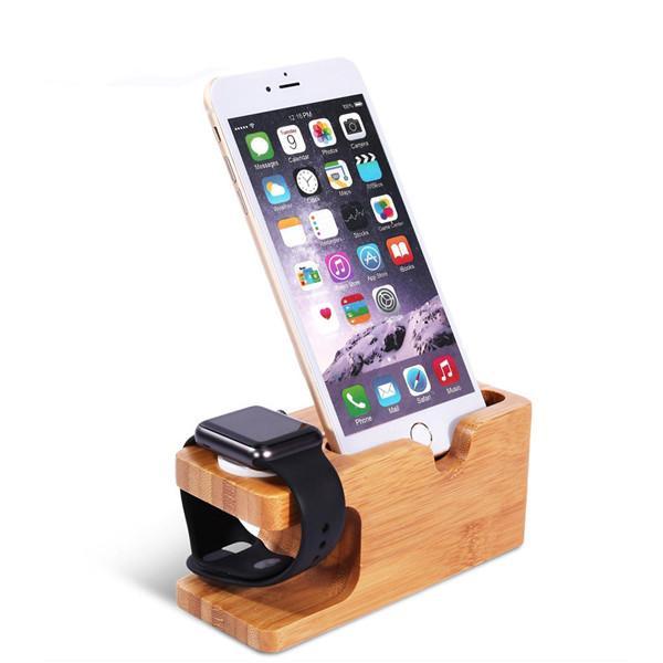 Station de chargeur de bois de bambou pour Apple Watch Dock de chargement de station de charge du support de support de chargeur pour IPhone X 8 support de berceau