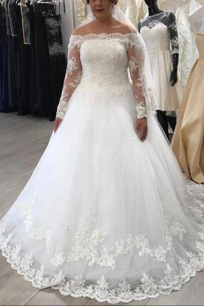 2019 Простой Длинный Рукав Линии Свадебные Платья Кружева Аппликация Длина Пола